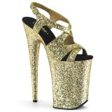 Goud 23 cm INFINITY-930LG glitter plateau hoge hakken