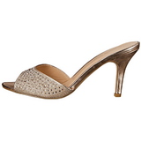 Goud 8,5 cm LUCY-01 glitter platte slippers dames met hak
