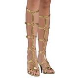 Goud 8 cm ROMAN-10 lange kniehoge gladiator sandalen dames