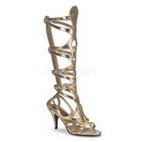 Goud 9 cm GODDESS-12 lange kniehoge gladiator sandalen dames