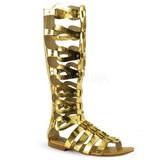 Goud ATHENA-200 lange kniehoge gladiator sandalen dames