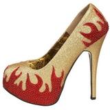 Goud Glinsterende Steentjes 14,5 cm TEEZE-27 damesschoenen met hak