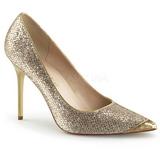 Goud Glitter 10 cm CLASSIQUE-20 naaldhak pumps met puntneus