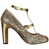 Goud Glitter 10 cm QUEEN-01 grote maten pumps schoenen