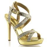 Goud Glitter 12 cm LUMINA-21 Hoge Avond Sandalen met Hak