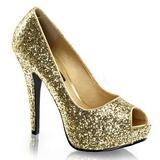 Goud Glitter 13,5 cm TWINKLE-18G Plateau Pumps Hoge Hak Peep Toe
