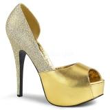 Goud Glitter 14,5 cm Burlesque TEEZE-41W mannen pumps voor brede voeten