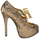 Goud Glitter 14,5 cm TEEZE-10G Platform Pumps Schoenen