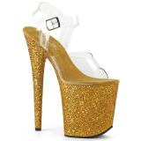 Goud Glitter 20 cm FLAMINGO-808LG Plateau Sandalen met Hoge Hak
