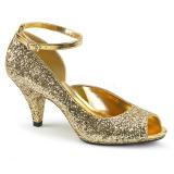 Goud Glitter 7,5 cm BELLE-381G pumps schoenen open teen