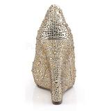 Goud Kristal Steen 13,5 cm ISABELLE-18 Sleehak Pumps Plateau