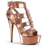 Goud Kunstleer 15 cm DELIGHT-658 pleaser schoenen met hoge hakken