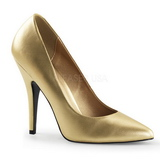 Goud Mat 13 cm SEDUCE-420 pleaser pumps met puntneus
