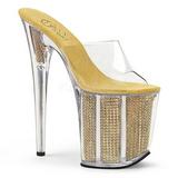 Goud glimsteen 20 cm FLAMINGO-801SRS dames slippers met hak