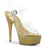 Goud glitter 15 cm Pleaser DELIGHT-608HG paaldans schoenen met hoge hakken
