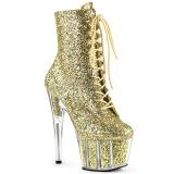 Goud glitter 18 cm ADORE-1020G dames enkellaarsjes met plateauzool