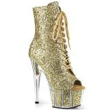 Goud glitter 18 cm ADORE-1021G dames enkellaarsjes met plateauzool