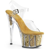 Goud glitter 18 cm Pleaser ADORE-708G paaldans schoenen met hoge hakken