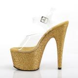 Goud glitter 18 cm Pleaser ADORE-708HMG paaldans schoenen met hoge hakken