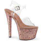 Goud glitter 18 cm Pleaser SKY-308LG paaldans schoenen met hoge hakken