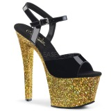 Goud glitter 18 cm Pleaser SKY-309LG paaldans schoenen met hoge hakken