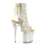 Goud glitter 20 cm FLAMINGO-1018G paaldans enkellaarsjes met hoge hakken