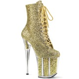 Goud glitter 20 cm FLAMINGO-1020G paaldans enkellaarsjes met hoge hakken