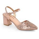 Goud glitter 7 cm Fabulicious FAYE-06 sandalen met naaldhak