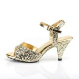 Goud glitter 8 cm BELLE-309G high heels schoenen voor travestie