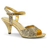 Goud glitter 8 cm Fabulicious BELLE-309G sandalen met lage hak