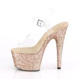 Goud glitter plateau 18 cm ADORE-708LG pole dance schoenen met hoge hakken