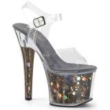Gray 18 cm RADIANT-708BHG Hologram platform high heels shoes