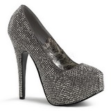 Gray Rhinestone 14,5 cm Burlesque TEEZE-06R Platform Pumps Women Shoes