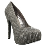 Gray Rhinestone 14,5 cm Burlesque TEEZE-06RW mens pumps for wide feets