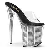 Gray Rhinestone 20 cm FLAMINGO-801SRS womens mules shoes