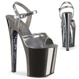 Gray chrome platform 20 cm XTREME-809TTG pleaser high heels shoes
