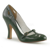 Green 10 cm SMITTEN-20 Pinup Pumps Shoes with Low Heels