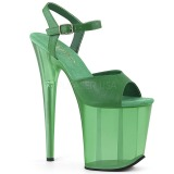 Green 20 cm FLAMINGO-809T Acrylic platform high heels shoes