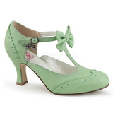 Green 7,5 cm FLAPPER-11 Pinup Pumps Shoes with Low Heels
