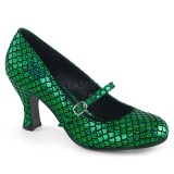 Green 7,5 cm MERMAID-70 Pumps Shoes with Low Heels