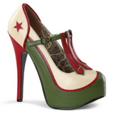 Green Beige 14,5 cm Burlesque TEEZE-43 Womens Shoes with High Heels