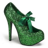 Green Glitter 14,5 cm Burlesque TEEZE-10G Platform Pumps Shoes
