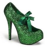 Green Glitter 14,5 cm TEEZE-10G Platform Pumps Shoes