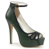 Green Leatherette 13,5 cm BELLA-31 womens peep toe pumps shoes