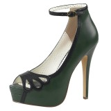 Green Leatherette 13,5 cm BELLA-31 womens peep toe pumps shoes