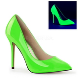 Green Neon 13 cm AMUSE-20 pointed toe stiletto pumps