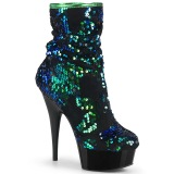 Green Sequins 15 cm DELIGHT-1004 pleaser ankle boots with platform