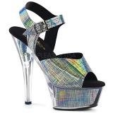 Grijs 15 cm KISS-208N-CRHM Hologram plateau schoenen dames met hak