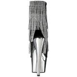 Grijs 18 cm ADORE-1024RSF dames enkellaarsjes met franjes
