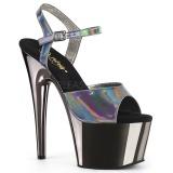 Grijs 18 cm ADORE-709HGCH Hologram hoge hakken schoenen pleaser